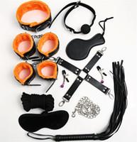Wholesale Handcuffs Blindfold Sets - Bondages 10Pcs set Bondage Kit Set Fetish BDSM Roleplay Handcuffs Whip Rope Blindfold Ball Gag Black+Orange Slave Bondage Wholesale