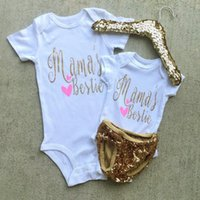 Wholesale High Neck Baby Bodysuit - newborn baby girls short sleeves jumpsuit Bronzing letter cotton rompers for infant girls summer fashion bodysuit high quality baby clothing