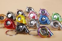 Wholesale Electric Car Solar - Mini Keychain 13 Colors LED Electric Torch Spinning Turbo Keychain Fans Favorite Bearing Turbine Keyring Gift Free DHL F415L