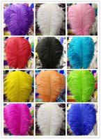 Wholesale Table Pc Inch - Wholesale!100 pcs a lot 20-22 inch 50-55 cm Ostrich Feather Plume for Wedding Centerpieces table decoration 10 kinds of color can choose