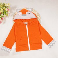 Wholesale Cute Baby Coats For Girls - 2016 New Cute Baby Fox Hoodies cotton cartoon animal zipper jacket for boys and girls Kids cartoon character outweat coat for 0-3T