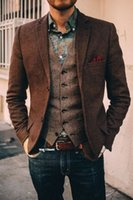 Wholesale Long Sleeve Vest For Men - 2017 New Design Brown Men's Blazers British style custom made Men's suit slim fit Blazer wedding Suits for men(Blazer Only or Blazer+Vest)