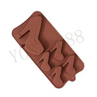 Wholesale High Heel Shoes Chocolate Mould - 1PC High-heeled Shoes Modeling Chocolate Mould Silica Gel Biscuit Mold Dessert Mold Silica Gel Bakeware