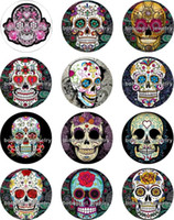 Wholesale thanksgiving skull glasses - Free shipping Halloween Skull Snap button Jewelry Charm Popper for Snap Jewelry good quality 12pcs   lot Gl216 jewelry making DIY