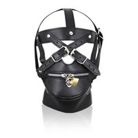 Wholesale Sexy Bondage Hood - Adult Games Zipper Mouth PU Leather Sexy Fetish Bondage Restraints Hood Mask with Lock Sex Toys for Couples Erotic Toys