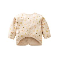 Wholesale Nature Tie - 0-6M Baby Nature Colored Cotton Long Sleeve Tie Round Neck Cardigan Non Staining Kids Spring Autumn Clothing