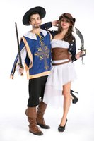 Wholesale Caribbean Dresses - Adults Sexy Swashbuckler Caribbean Pirate Halloween party fancy Dress Costume 8652 S-L
