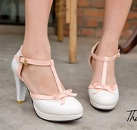 Wholesale Lolita High Heels - Brand Spring and Autumn Women Bowtie Shoes Fashion Cutouts Princess Platform Pumps Ladies High Heel Lolita Shoes Size 34-43