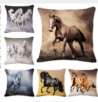 Wholesale 3d Printed Ring - 3D Horse Animals Pattern Decorative Throw Pillows Cushion Cover For Sofa Home Car Decor Cojines Almofadas 45x45cm