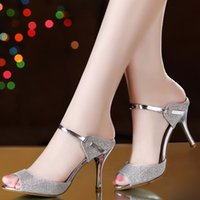 Wholesale Stiletto Heel Fish Mouth - hot sell! women Sandals sweet fish mouth high-heeled silver female sandals in the summer of 2016 the new heel