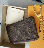 Wholesale Brown Canvas Purse - 2018 KEY POUCH Damier canvas holds high quality famous classical designer women key holder coin purse small leer