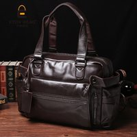 Wholesale Vintage Gym Bags - Young Fashion mens leather travel bag vintage duffle handbags large men business luggage bag with shoulder strap sac voyages