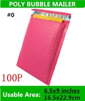 Wholesale Pink Mail Bags - [PB#0]-Inner Size 165x(229+40)MM 6.5x9+1.57inches Pink Poly bubble Mailer envelopes padded Mailing Bag Self Sealing co-ex courier bags