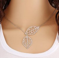 Wholesale Hypoallergenic Pendant Necklace - 2016 New Women Fashion Minimalist Tucson-based Metal Double Leaf Joker Short Chain Ossicular Female hypoallergenic Choker Necklace