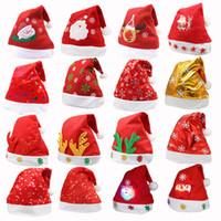 accesorios rojos unisex al por mayor-LED Sombrero de Navidad Niño Niños Adultos Sombreros de fiesta Santa Red Accesorios Decoraciones para Fiesta de Navidad
