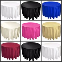 "Wholesale Ivory Satin Table Cloths - 108"" white black ivory color Satin Table Cloth Round Satin Tavle Cover for Banquet Wedding Party Decoration Supplies High Quality"