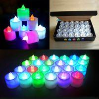 velas accionadas por batería led al por mayor-24 unids / set LED Luces de Vela Electrónicas Celebración Festival Eléctrico Falso Vela Parpadeo Bombilla Batería Sin Llamarada WX9-55
