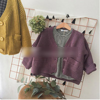 Wholesale Kids fashion knitting sweater Autumn Winter boys and girls single breasted cardigan children pure color double pockets outwears C0048