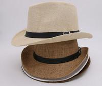 Wholesale Soft Straw Hats Wholesale - Free Shipping 6 Colors Vogue Men Women Straw Hats Soft Fedora Panama Hats Outdoor Stingy Brim Caps