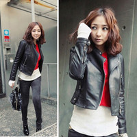 Wholesale Leather Jackets Trendy Women - 2016 brand new fashion Charming Trendy Fancy Hot women Slim-fitting Motorcycle leather jacket winter Coat Black