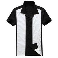 Wholesale Hot Mens Shirts - Wholesale- Rockabilly shirt man's retro vintage style clothing sleeves top cotton black 50s 60s mens shirts hot rod 50's design american