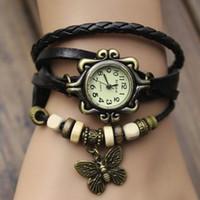 Wholesale Hand Woven Belts - The New Retro Hand Woven Leather Ladies Fashion Bracelet Watch colorful Butterfly Pendant Quartz Watch