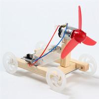 wissenschaft experimente kits großhandel-Neue DIY einflügelige Wind Auto Montage Modell Kit Entwicklungsspielzeug Wissenschaftliches Experiment Pädagogisches Spielzeug Geschenk Für Kinder