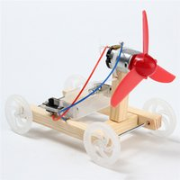 Wholesale toys car assembly online - New DIY Single wing Wind Car Assembly Model Kit Developmental Toys Science Experiment Educational Toys Gift For Children