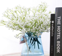 Wholesale Decorative Stems - Artifical Babysbreath Wedding Decorative 5 Stems Plastic Gypsophila 135 Small Flowers Bridal Bouquet Flower Good Quality Flores