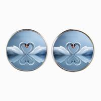 Wholesale Ear Stud Bird - White Swan Stud Earring Love Bird Jewelry Glass Cabochon Silver Plated Earings For Women Fashion Ear Accessories