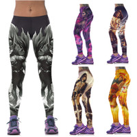 Wholesale Girls Leggings Working Out - Wholesale-New Fashion Women Girl 3D Print Gothic Myth Hero Leggings black milk Pants For Running Tights GYM Fitness Yoga Trousers Work out
