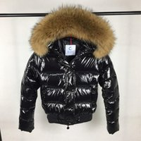 Wholesale Women Short White Cotton Dress - Quality M Raccoon Fur Collar Down Jacket Red & Balck Colors Women Duck Down Coat Short Style Fashion Feather Dress Parkas