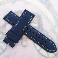 Wholesale Watch Leather Strap 22mm - 24 22mm Width 120 75mm Blue Nubuck Calf Leather Strap For Panerai or other LUNMINOR RADIOMIR watch