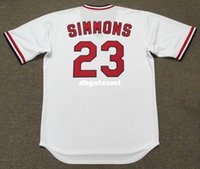 Cheap Custom TED SIMMONS St. Louis Cardinals 1975 Majestic Cooperstown Home Baseball Jersey Retro Mens Jerseys