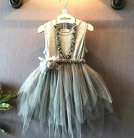 Wholesale Sheath Dress Kids - Fashion baby girl summer asymmetrical lace cotton dresses toddler kids ruffle pleated party ball gown dresses gray Children clothing 2T-4T
