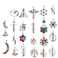 Wholesale Stone Inlay Pendants - Hot Newest Natural Crystal Gemstone Pendant For Necklace Inlaid Stones Seven Chakra Religious Alloy Personality Natural Jewelry