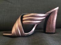 ingrosso un argento-scarpe attuali ~ 3122 40 vera pelle muli croce metallici sandali con tacchi diapositiva oro rosa beige nero argento