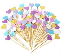 Wholesale Hearts Cake Toppers - Handmade Lovely Heart Cupcake Toppers,Girl baby shower decorations,Party Supplies Birthday Wedding Party Decoration