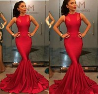 Wholesale Stretch Dresses Sale - Long Red Mermaid Prom Dresses Arabic Sexy O-neck Sleeveless Stretch Satin Hot Sale Custom Made Floor Length Party Evening Gowns Cheap