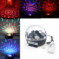 Commercio all'ingrosso- IR Remote Digital RGB LED Crystal Magic Ball Mini Disco DJ Laser Stage Light MP3
