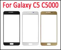 funda de galaxy s5 gold al por mayor-Para Galaxy C5 Touch Screen lente de cristal negro oro blanco exterior pantalla digitalizador cubierta reemplazo de vidrio C5000 DHL envío gratis
