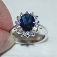 Wholesale Blue Sapphire Ring 925 Silver - Size 5 6 7 8 9 10 Princess 925 Silver Oval Blue Sapphire Gemstone Rings Gift for Women Girlfriend