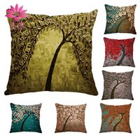 Wholesale Paint Products - muchun Brand Christmas Pillow Case Oil Painting Tree New Year Product 45*45cm Christmas Linen Home Textiles Sofa Throw Pillow Cover
