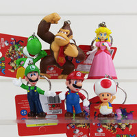 Wholesale Toad Figure - Super Mario Bros Figure keychain with tag 6pcs set 3-7cm 3inch Toad Donkey Kong Yoshi keychain Free Shipping