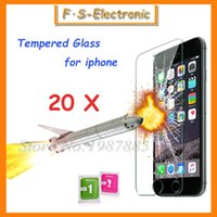 Wholesale Transparent Iphone 4s Screen Protector - 20Pcs Lot 0.3mm Super Thin Tempered Glass Film for iPhone 7 6 6s plus 5 5s 5c 4 4s Transparent Screen Protector with Clean Tools
