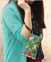 Wholesale Unique Wallet Chains - 2016National Style Women Clutch Bag Contrast Color Embroidery Handbag Wrist Strap Elegant Small Mini Mobile Phone Bag Wallet Unique