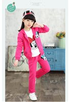 Wholesale Girls Shirt Cardigan - Autumn girl Minnie clothes cartoon pattern cardigan+T-shirt+spant set 3 pieces children clothes suit cotton clothing for 6~16 years kids