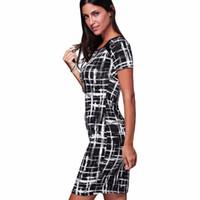 office dress outfits toptan satış-Kadın 2016 Ilkbahar Yaz Baskılı Kıyafetler Bayanlar Çalışma Ofisi Iş Kısa Kollu Kalem Bodycon dashiki Elbise