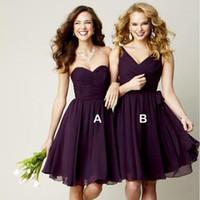 neues schatz ballkleid lila großhandel-New Grape Dark Purple Fashion Chiffon Ballkleid Schatz Plissee Short Brautjungfer Kleid Schneller Versand Party Kleid Für Hochzeit