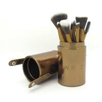 Wholesale cylinder pc online - 12 Makeup Brush Set Cup Holder Professional Makeup Brushes Set Cosmetic Brushes With golden Cylinder Cup Holder DHL free